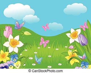 Illustration of Easter landscape