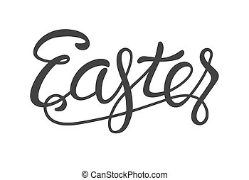 Easter Lettering Black Isolated on White