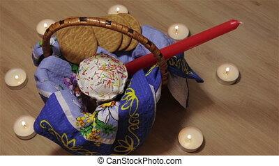 Easter lies in a wicker basket