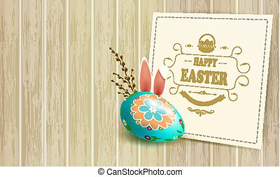 Easter light composition with a silhouette of an egg, bunny ears, willow branches and a square frame,