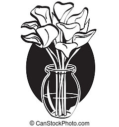 Easter lillies or flowers clip art in simple, one color, black and white line art style.