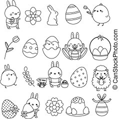 Easter linear icons. Cute bunny rabbit, eggs, chicken and other holiday symbols in kawaii style. Big collection of vector elements