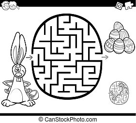 easter maze activity for coloring - Black and White Cartoon...