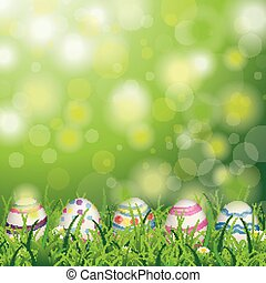 Easter Natural Eggs Grass Daisy Flowers Bokeh