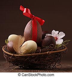easter nest and egg
