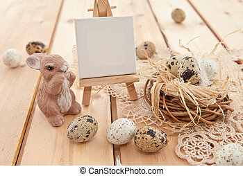 Easter nest with quail eggs
