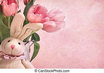 easter nyuszi, és, rózsaszínű, tulipánok