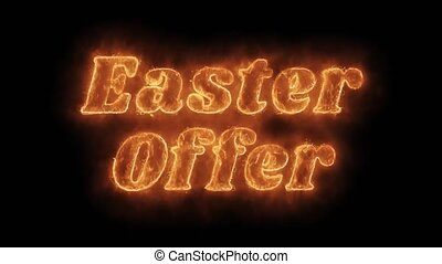 Easter Offer Word Hot Animated Burning Realistic Fire Flame...
