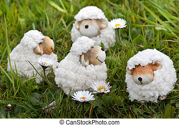 Easter- or spring decoration - sheep in grass
