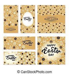 Easter ornamental banners set on golden background