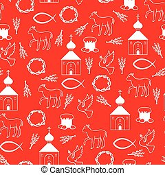 Easter Orthodox pattern seamless on red background