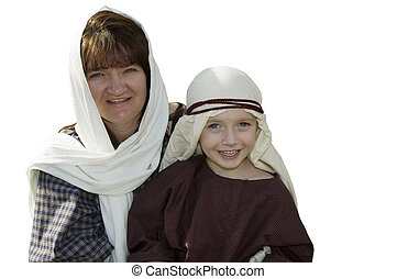 Mom and Son in Mideast clothing