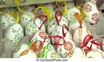 Easter painted and waxed eggs, traditional folk...