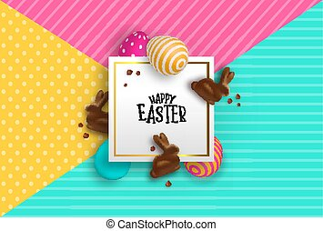 Easter paper card of chocolate bunny and 3d eggs