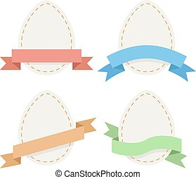 Easter paper eggs with ribbons flat vector set.