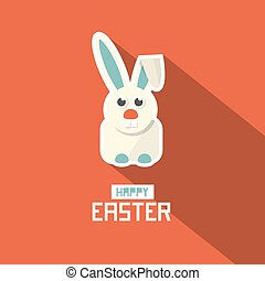 Easter Paper Flat Design Bunny Vector Illustration on Red Background