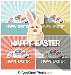 Easter Paper Flat Design Bunny Vector Illustration on Retro Backgrounds with Eggs
