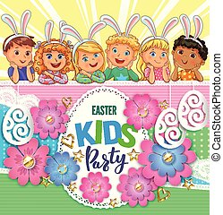 Easter party poster with flowers and children with bunny ears.