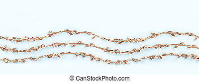 Easter pattern of willow catkins branches on blue