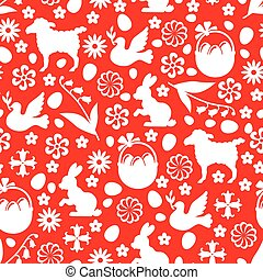 Easter pattern seamless on red background