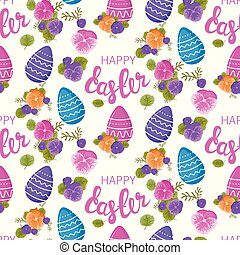 Easter pattern. Seamless pattern with Easter motifs. Vector pattern