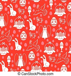 Easter pattern seamless with angel, egg, hare, dove on red background