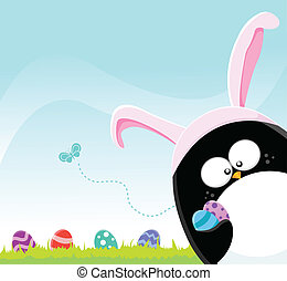 Easter Penguin - Cute Penguin Hunting Easter Eggs