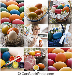 Easter - Colorful easter collage made from nine photographs