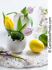 Easter place setting with painted eggs