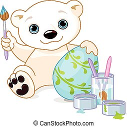 Easter Polar Bear - Illustration of Polar Bear decorates ...