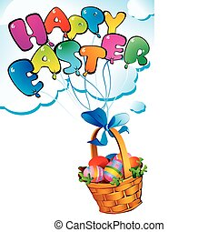 Easter postcard. - Easter postcard with a wicker basket....