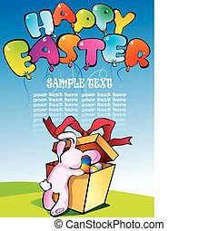 Easter postcard. - Easter postcard with bunny.Place for...