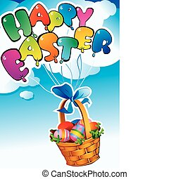 Easter postcard. Happy easter. Vector art-illustration.
