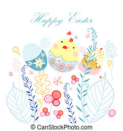 Easter postcard with chicken