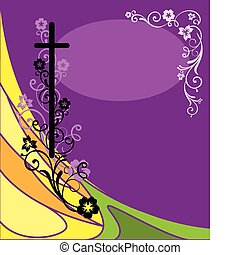 Easter postcard with the religious symbol and the decoration