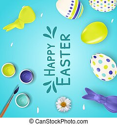 Easter poster template with 3d realistic  Easter eggs, bunny, paint and brush.  Template for advertising, poster, flyer, greeting card.  Vector Illustration EPS10