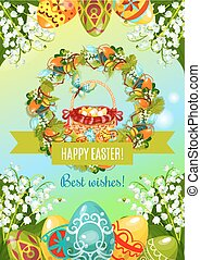 Easter poster with egg hunt basket and flowers