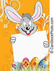 Easter Poster with Eggs, Rabbit and Sheet of Paper