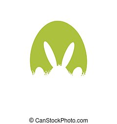 Easter poster with rabbit and grass