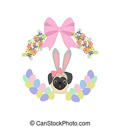 Easter pug illustration