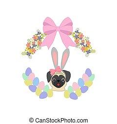 Easter pug illustration