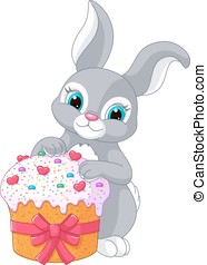 Easter Rabbit and Cake - Cute Easter bunny holding cake