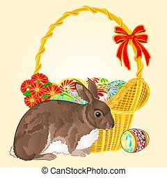 Easter rabbit and easter wicker with Easter eggs with flowers vector illustration
