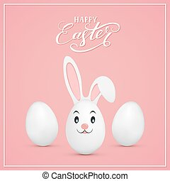 Easter rabbit and eggs on pink background