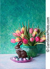 Easter rabbit and flowers