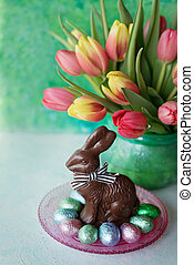 Easter rabbit and spring flowers
