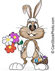 Easter rabbit - Easter bunny with flowers and a basket of...