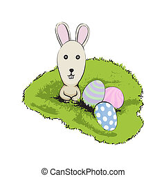 easter rabbit - Cute easter rabbit with egg on green grass