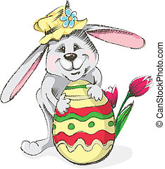Easter Rabbit - Easter rabbit with egg and flower