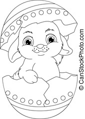 Easter Rabbit Coloring Page - Easter bunny hatched from egg